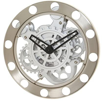 b2c4f1f822c3 Amazon.com: Kikkerland Gear Wall Clock, Nickel/White: Home & Kitchen