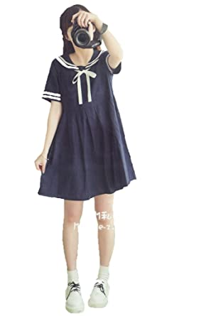 Aza Boutique College Girl s Navy Style Cute One Piece Dress with Ribbon 3760dedac