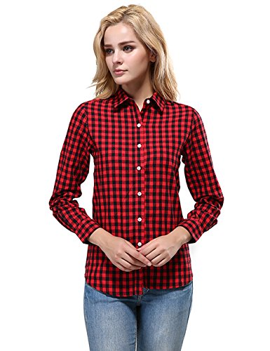 DOKKIA Women's Fashion Tops Feminine Long Sleeve Button Down Work Casual Dress Blouses Shirts (Large, Red Black Buffalo)