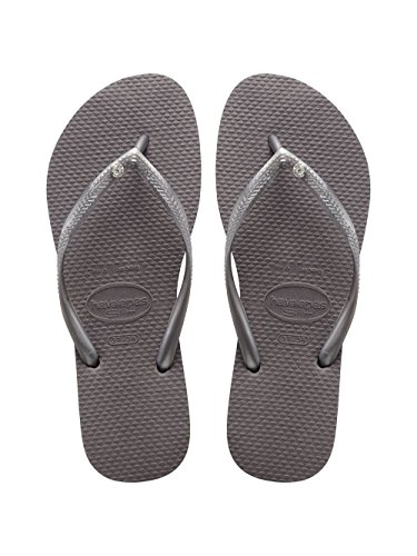 - Havaianas Womens Slim Crystal Glamour Sandal Lightweight Beach Flip Flop - Steel Gray - 9