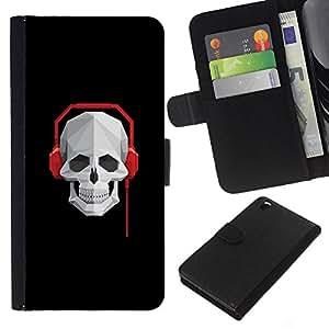 YiPhone /// Tirón de la caja Cartera de cuero con ranuras para tarjetas - Cráneo Batir Auriculares - HTC DESIRE 816