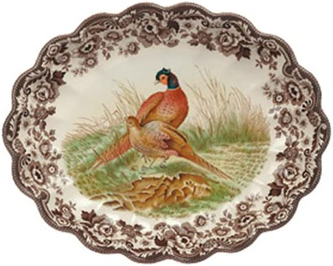 Spode Woodland Pheasant Oval Fluted Dish