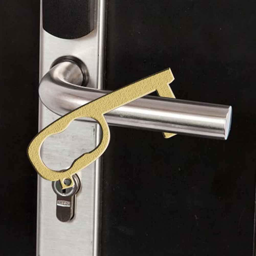 gancho de lazo multiprop/ósito Stylus Keychain Tool Abrepuertas m/ás cercano botones de elevador de presi/ón sin contacto Palo de mano abrepuertas de lat/ón sin contacto