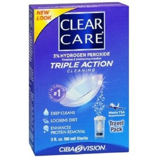 Clear Care Triple Action Travel Pack Cleaning and Disinfecting Solution, 3 Count