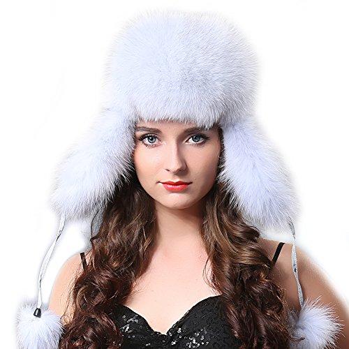 Fox Fur Aviator (Winter Fox Fur Trapper Hat - Ushanka Aviator Trooper Hat With Two Fur Pom Poms For Women FURTALK Original)