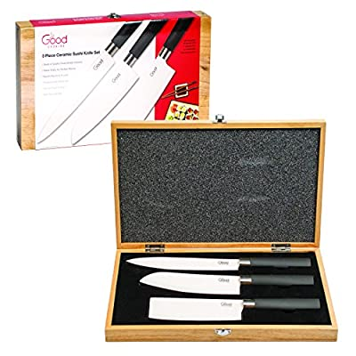 Ceramic Knife Set - Premium, Professionally-Balanced Knives (Set of 3 Unique Blades) with Wooden Carrying Case from Good Cooking