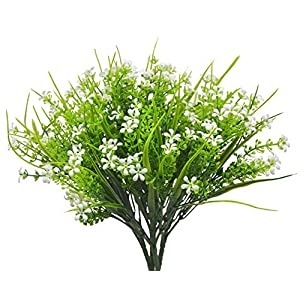 Artificial Flowers Plants, 4pcs Faux Plastic Shrub Bouquet Simulation Greenery Bushes Indoor Outside Home Garden Office Wedding Decor (JLX White) 84