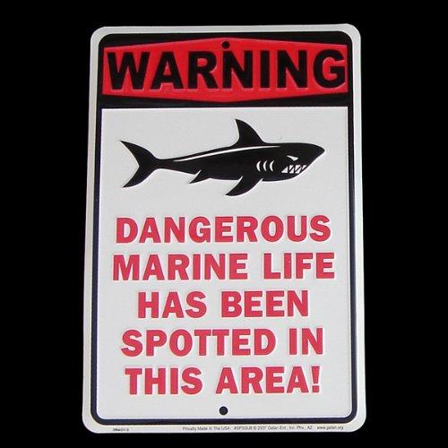 Shark Warning Tin Sign Dangerous Marine Life Beach Wall Plaque