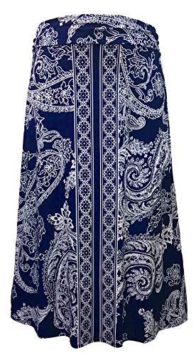 LEEBE Women's Plus Size Maxi Skirt (1X-5X) (5X (30-32), Navy Paisley)
