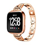 YJYdada Luxury Stainless Steel Crystal Strap Wrist Band Replacement for Fitbit Versa (Rose Gold)
