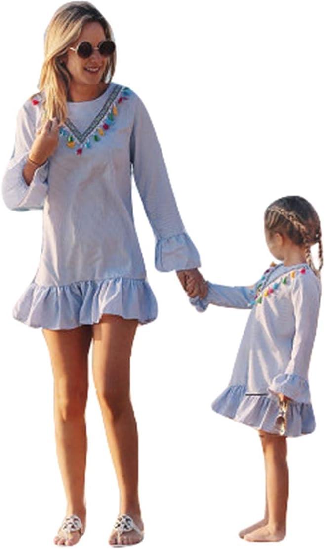 Vestidos de Madre e Hija de Manga Larga Raya para Niños Bebés Familias Ropa Mamá y Yo Vestido