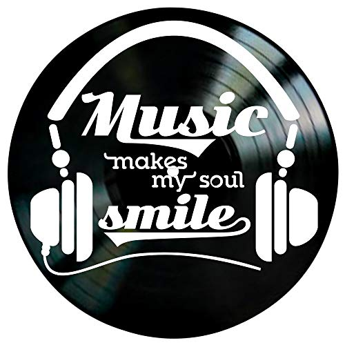 Music Makes My Soul Smile Quote on a Vinyl Record Album Wall Artwork