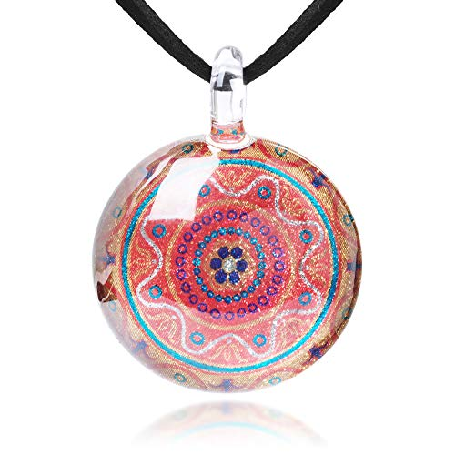 Pendant Orange Glass Murano (Chuvora Hand Blown Glass Jewelry Orange Mandala Design Round Pendant Necklace, 17-19 inches)
