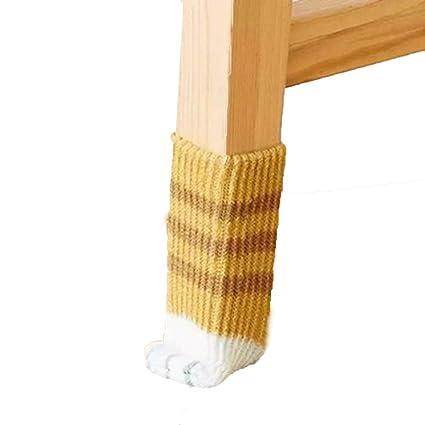 8 Calcetines para Sillas, Sofás y Otros Muebles - Diseño de Patas de Gato - Maravilloso Protector de Pisos y Muebles - 2 Juegos de Color Jengibre ...
