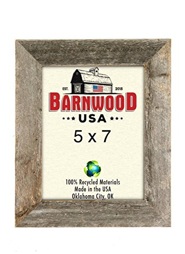 BarnwoodUSA Rustic 5 by 7 Inch Photo Frames 1 5/8 Inch Wide - 100% Reclaimed Wood, Weathered Gray (Picture Frames Reclaimed Wood)