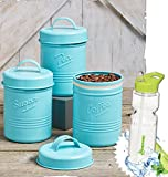 Gift Included- Country Kitchen Set Of 3 Antique Look Vintage Metal ''Tea'', ''Sugar'' ''Coffee'' Canisters + FREE Bonus Water Bottle by Homecricket (Blue)