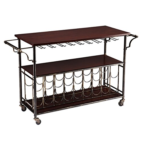 Tuscany Espresso Black Wine Bar Cart Serving Table Includes Import It All: home bar furniture amazon