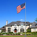 20ft Telescopic Aluminum Flag Pole Free 3'x5' US Flag & Ball Top Kit 16 Gauge Telescoping Flagpole Fly 2 Flags