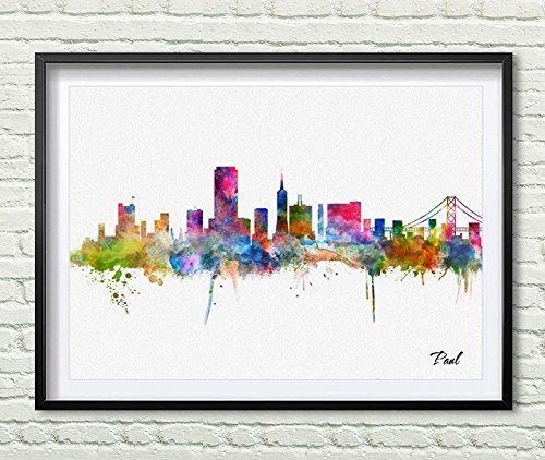 Amazon.com: San Francisco skyline city Watercolor art print wall art ...