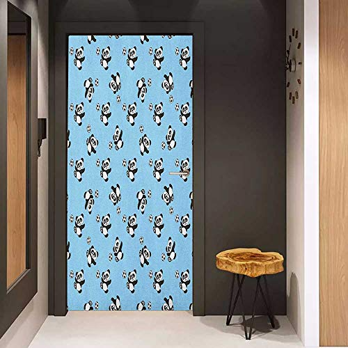 (Onefzc Door Wallpaper Murals Soccer Cute Panda Player Kicking a Ball Kids Boys Design Fun Animal Pattern WallStickers W30 x H80 Pale Blue Black White)