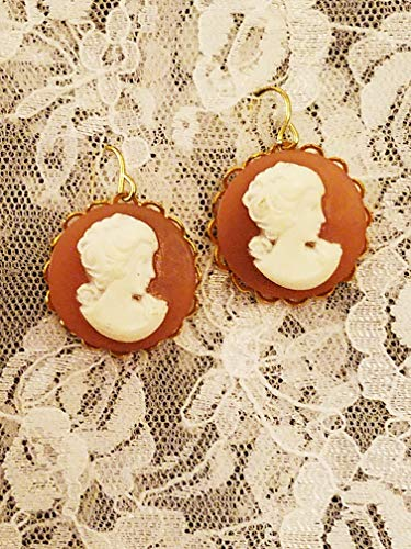 - Carnelian Background Round Cameo Earrings with Goldplate Dangles