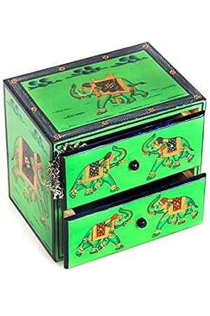 Caja de madera pintada a mano con base verde de Bureaus: Amazon.es: Hogar