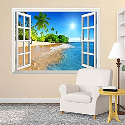 """wall26 White Beach with Blue Sea and Palm Tree Open Window Mural Wall Sticker - 30""""x36"""""""