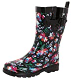 Capelli New York Ladies Shiny Bright Floral Printed Mid-Calf Rain Boot Black Combo 7