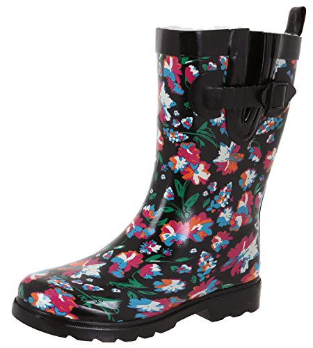 (Capelli New York Ladies Shiny Bright Floral Printed Mid-Calf Rain Boot Black Combo 7)