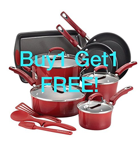 Premium Cookware Set Ceremic Nonstick 12 Piece, PFOA-, PTFE- and cadmium-free, Red by SilverStone