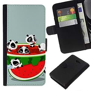 All Phone Most Case / Oferta Especial Cáscara Funda de cuero Monedero Cubierta de proteccion Caso / Wallet Case for Sony Xperia M2 // Funny Cute Animals & Watermelon