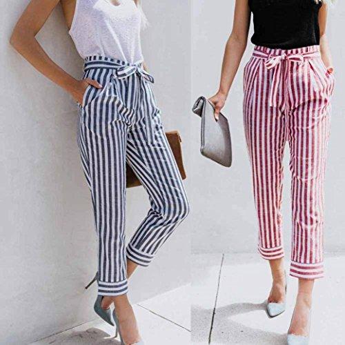 Stoffa Streetwear Swag Vita Rosa Tasche Stripe Moda Inclusa Pantalone Semplice Fit Di Elastica Con Cintura Eleganti Pantaloni Primaverile Estivi Trousers Donna Glamorous Slim Lunga 0xHUFqB