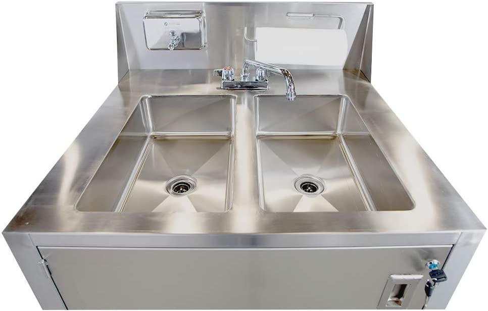 Largest Double Basin Portable Sink with Hot /& Cold Water