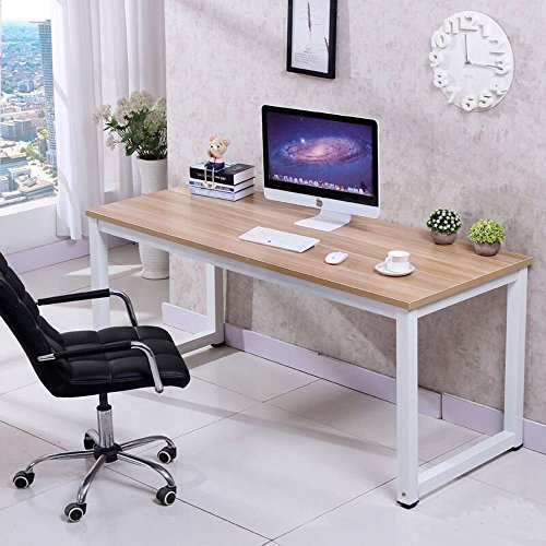 CHEFJOY Computer Desk PC Laptop Table Wood Work-Station Study Home Office Furniture, White and Natural
