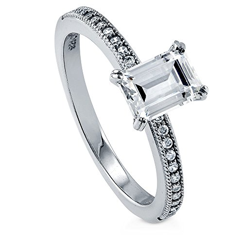 BERRICLE Rhodium Plated Sterling Silver Emerald Cut Cubic Zirconia CZ Solitaire Promise Engagement Ring 1.11 CTW Size 6