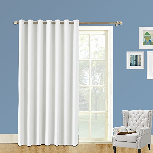 LIFONDER Blackout Sliding Door Curtains - Heavy-Duty Thermal Insulated Patio Door Large Window Curtains Drapes/Shades Ring Top loft/Storage, 8.5ft Wide x 8ft Tall, Greyish White -