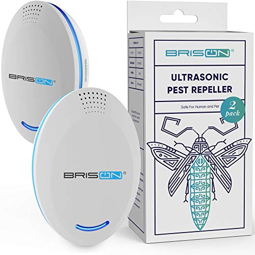 BRISON Ultrasonic Pest Repeller Plug-in Control (2-Pack) Electronic Insect Repellent Gets Rid Mosquito Bed Bugs Roach Spiders Fleas Mice Ants Fruit Fly