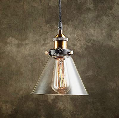 Modern Vintage Industrial Metal Loft Glass Cone Ceiling Lamp Shade Pendant Light 2015 NEW Edition