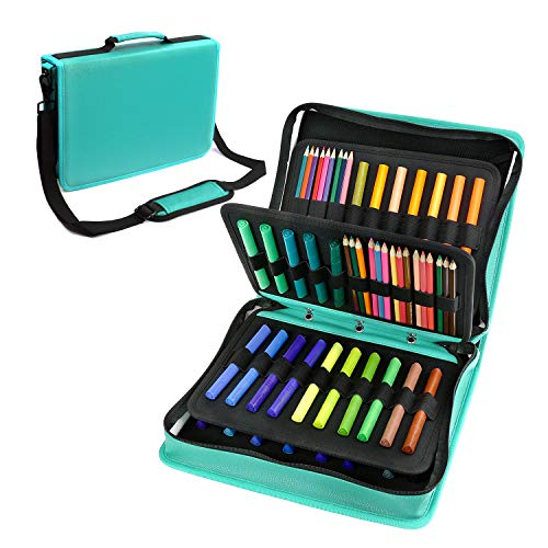 (YOUSHARES Colored Pencil & Gel Pen Case in Large Flexible Slot - PU Leather Colored Pencil Case with Zipper Holds 180 Colored Pencils or 140 Gel Pens - for Watercolor Pencils, Gel Pens(Green))
