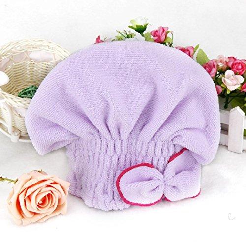 Hair-drying Hat,Muxika Newly Textile Useful Dry Microfiber Turban Quick Hair Hats Towels Bathing (Purple)