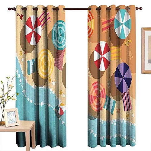 Qenuanmpo Kitchen Curtains Beach,Summertime Seacoast with Colorful Umbrellas Stars Flat Design Aerial View Vacation,Multicolor,Rod Pocket Drapes Thermal Insulated Panels Home décor 52