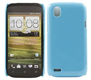 iTALKonline SKY BLUE GLOSSY UV HTC Desire X Hybrid Armour Hard Tough Shell Clip On Case Skin Cover