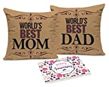 TiedRibbons® Gift For Dad and Mom Set of 2 printed Cushion(12 Inch X 12 Inch,Multicolor) with Inner Filler and Greeting Card