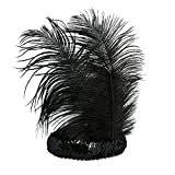 BABEYOND Roaring 20's Sequined Showgirl Flapper Headband Black with Feather Plume (Black)