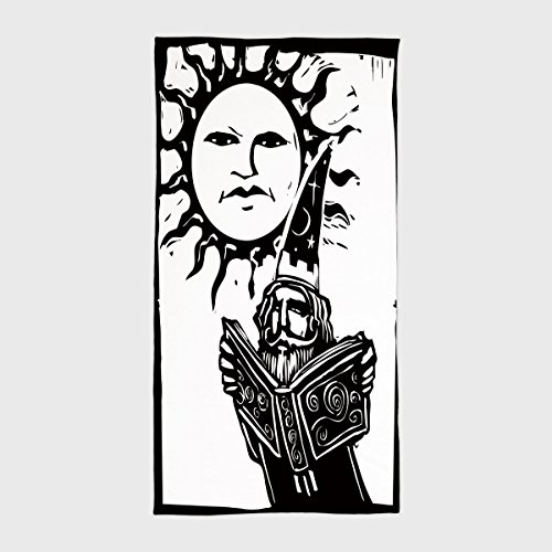 Cotton Microfiber Hotel SPA Beach Pool Bath Hand Towel,Fantasy,Wizard Reading Magic Book beneath the Sun with Face Sacred Spiritual Legend Image Decorative,Black White,for Kids, Teens, and Adults