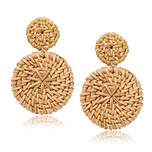 Weave Straw Double Disc Drop Earrings Boho Rattan Dangle Statement Earrings (Dark disk) ()