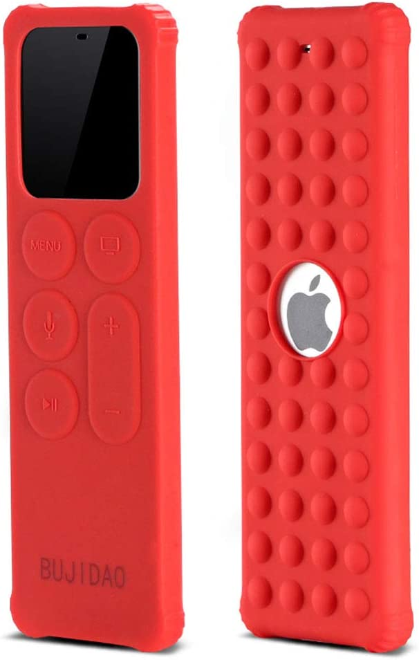 BUJIDAO Protective Case for Apple TV Siri 4K 5th / 4th Gen Remote, Protective Silicone Remote Cover for Apple TV Siri Remote Controller Lightweight Anti Slip Shock Proof (Red)
