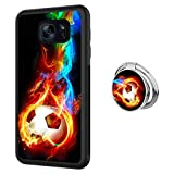 Designed Flame Soccer Samsung Galaxy S7 Case with Buckle Ring 360° Rotatable Silvery Durable Ring Buckle, TPU Black Antiskid Tread Phone Case for Samsung Galaxy S7
