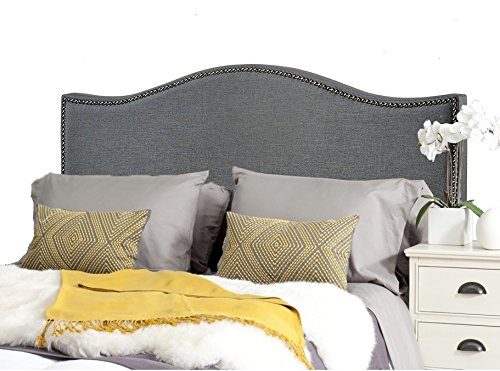 ModHaus Modern Arch Gray Upholstered Padded Queen Headboard with Pewter Metal Nailheads Includes Living (TM) Pen