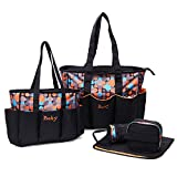 Diaper Bag Backpack with Multi-Function Large Capacity Waterproof Travel Nappy Bag, Mummy Bag for Baby Care (Orange Dot)